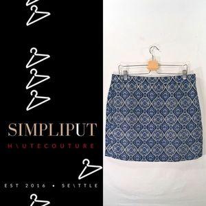 J CREW FACTORY Jacquard Mini Skirt Blue Moroccan